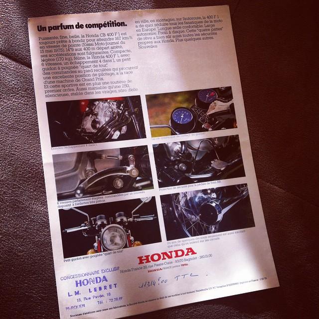 Original french brochure #honda #cb400f #cb400four